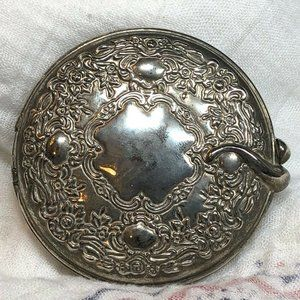 Vintage Embellished Silver Compact Mirror